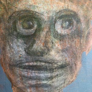 "IRA WRIGHT: ""Six Modern Heads (detail),"" 2019. Acrylic on canvas, framed, 28"" x 24"""