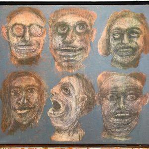 "IRA WRIGHT: ""Six Modern Heads,"" 2019. Acrylic on canvas, framed, 28"" x 24"""