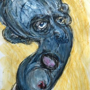 "IRA WRIGHT: Blue Period Selfie, 2020. Mixed media on rag paper, 29"" x 23"""