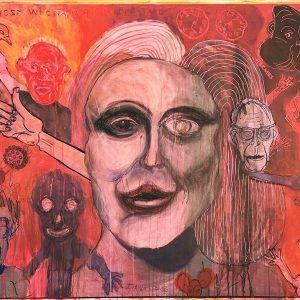 "IRA WRIGHT: ""I Love Susan Sontag,"" 2020. Mixed media on canvas, 36"" x 44"""