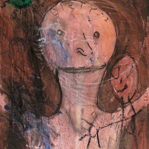 "Pensive Portrait with Homunculus, acrylic, markers, 22 1/4"" x 30"""