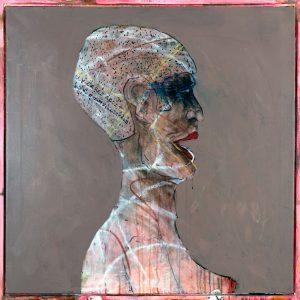 """Ira Wright: WARRIOR. Acrylic, mixed media, 36.25"""" x 36"""""""