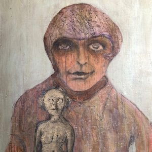 "IRA WRIGHT: Woman with Homunculus, 2019. Mixed media on canvas, 23"" x 31"""