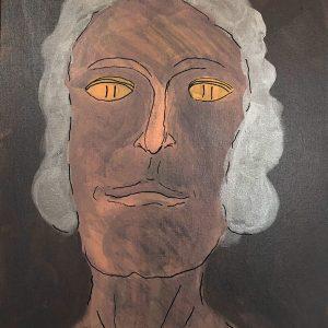 "Ira Wright: Aunt Harriet II, 2019. Mixed media on canvas, 16"" x 20"""