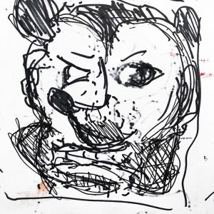 "IRA WRIGHT: ""Mickey Man,"" 2019. Ink on paper, 11"" x 9"""