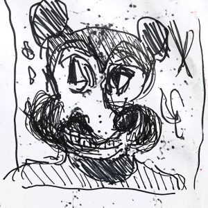 "IRA WRIGHT: ""Mickey Frowns,"" 2019. Ink on paper, 11"" x 9"""