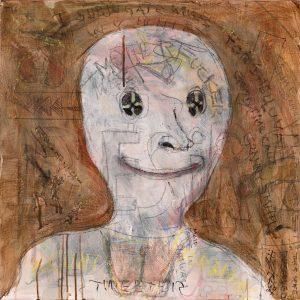 "Self-Portrait On A Good Day, 2018. Acrylic, graphite, 24"" x 24"""