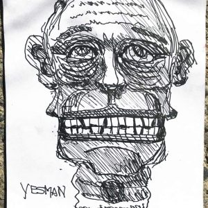"IRA WRIGHT: ""Yes Man"" 2019, 9"" x 12."" Ink on paper (sketchbook)."