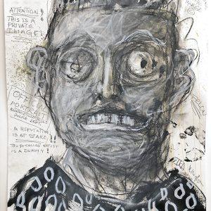 Felon, 2020. Mixed media on rag paper, 19.75 x 25.5 inches