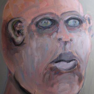 """Head of Judas,"" 2021. Acrylic on canvas, 36X36"